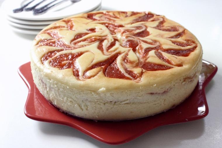 Gluten-Free Rhubarb Swirl Cheesecake