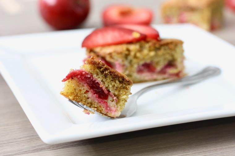 Gluten-Free Plum Cardamom Polenta Cake